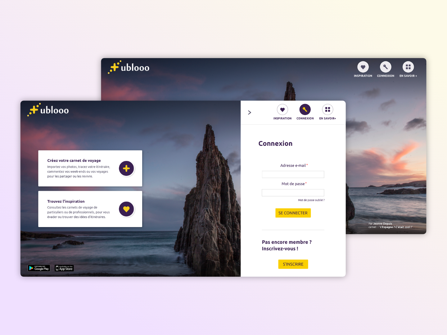 Ublooo travel app design web ui