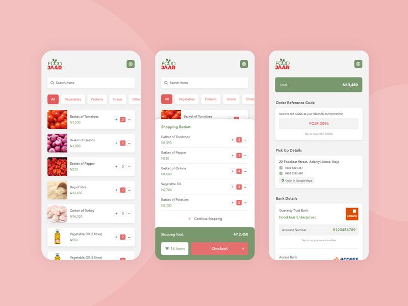 FoodJaar PWA Inteface Design interface design food shop ui. interface ui  ux design ui adobe xd mobile