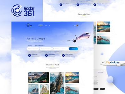 Radar361 booking flight travel web website prototype typography design illustration ux ui branding