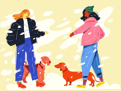 Snowy Meeting diversity women friends composition dog characters people illustration people illustration