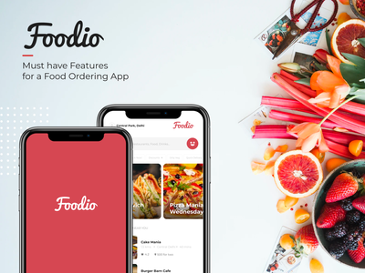 Foodio - Must Have Features in a Food Ordering App ux case study dribbble animation 2d burger burger app microinteraction logo design interaction design food ordering app food delivery food app ui food app food and drink food after effects adobe xd animation after effects animation