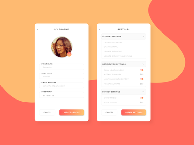 Profile and Settings Page - Daily UI 006 & 007 dailyuichallenge dailyui ui settings profile page settings page