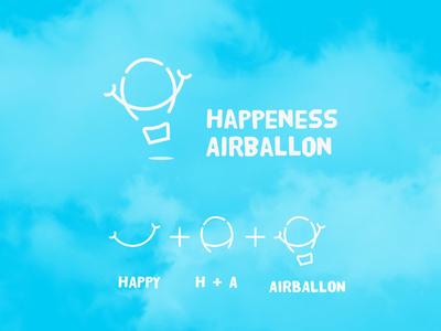 happiness airballon logo flat typography web type app logo illustration vector icon design
