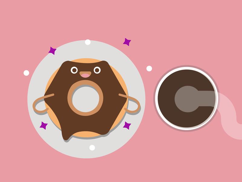 Donute time <3 food flat illustration flatdesign flat illustration vector icon design