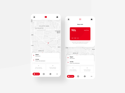 TCL - transit Redesign concept mobile app mobile app redesign black grey white red transit map map lyon tcl itinerary geolocation bus tramway subway transit