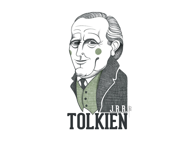 J. R. R. Tolkien Portrait illustration art artwork caricature portraits digital pencil writer tolkien character portrait illustration portrait art illustration portrait