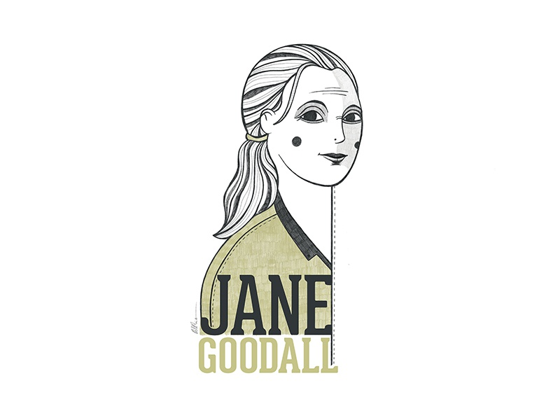 Jane Goodall Portrait character art design press scientific illustration portrait design woman portrait doctor chimpanzee science illustration woman people illustration art portrait art janegoodall portrait illustration