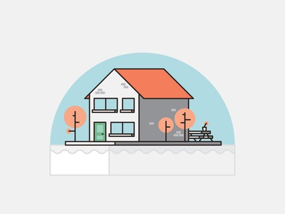 Homes - House shapes flat 2d illustration