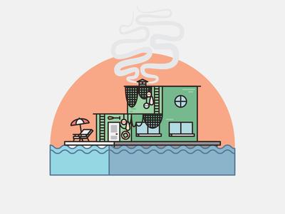 Homes - Fishing Shack 2d illustration shack fishing flat  design illustration 2d fish