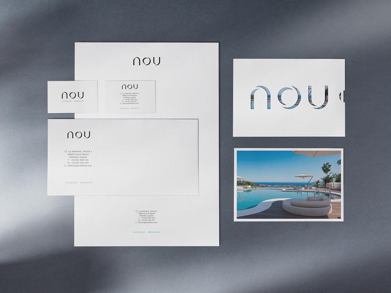 NOU – Alcuzcuz | Benahavis identity designer apartments unifikat typography luxury brand identity studio brand materials luxury apartment branding editorial design logo real estate design