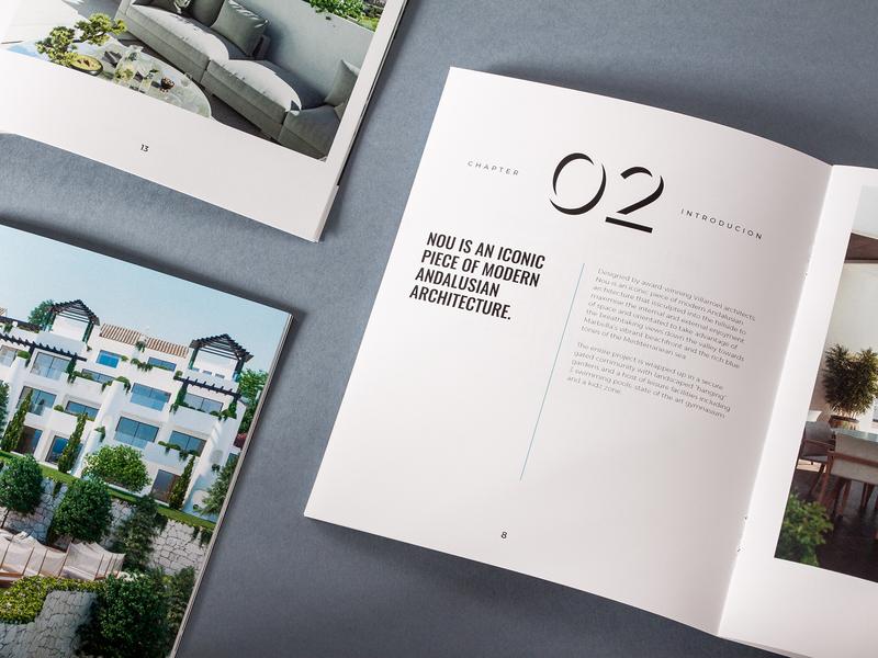 NOU – Alcuzcuz | Benahavis unifikat apartments brochure brochure design editorial brand materials luxury brand typography luxury editorial design apartment real estate identity studio branding design