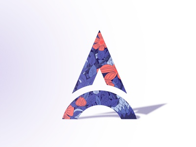 A for Adam stencil floral logo illustration letter