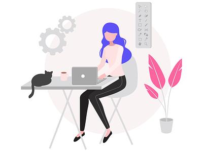 Graphic Designer Illustration graphicdesigner graphicdesign coffee illustrator gears laptop desk plant cat girl illustration design