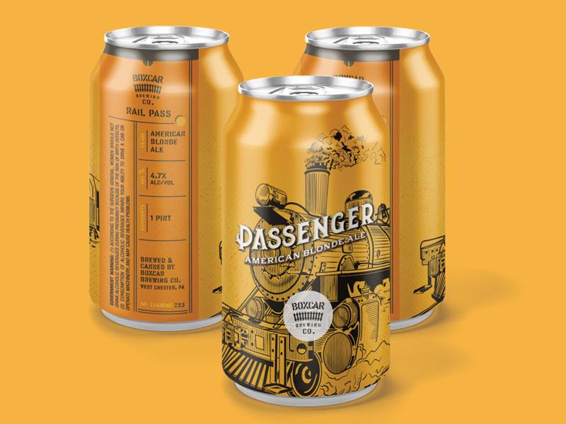 Boxcar Brewing Co: Passenger vintage train railroad packaging label branding boxcar beer label beer can beer