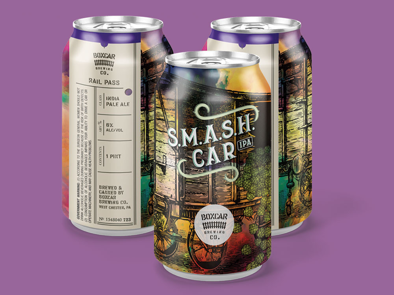 Boxcar Brewing Co: S.M.A.S.H. Car vintage train railroad packaging label branding boxcar beer label beer can beer