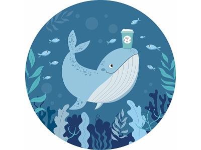 Иллюстрация для кофейни Moby Kit nature natural fish whale design logo cafe coffee