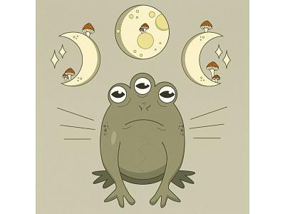 Frog mushroom frog illustration