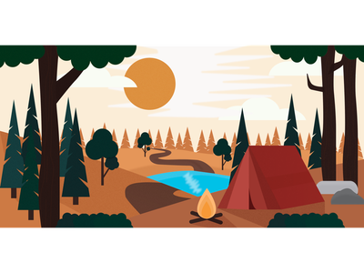 Tent illustration sun tree fire tent jungle forest