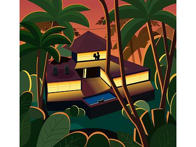 Love in jungle night couple cat illustration forest love jungle villa