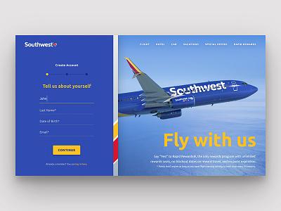 Southwest Sign Up Page // Practice Shot 001 ui input form southwest sign up airline dailyui
