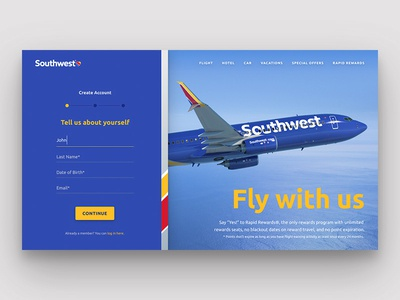 Southwest Sign Up Page // Practice Shot 001 ui input form southwest sign up airline dailyui