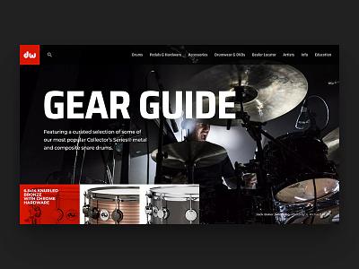 DW Gear Guide // Practice Shot 002 typography simple dark minimal guide gear landing page design web ui dailyui drums