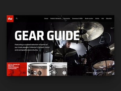 DW Gear Guide // Practice Shot 002 typography simple dark minimal guide gear landing page design web ui dailyui drums