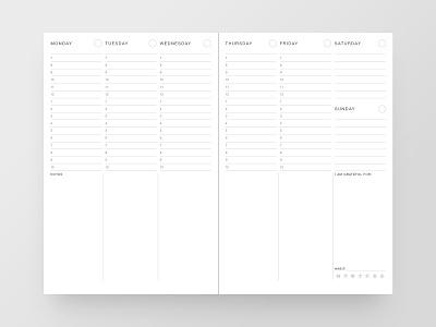 Planner schedule white dailyui minimal notebook notes agenda simple print design journal calendar planner