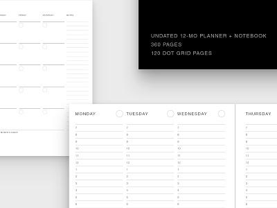 Undated Planner + Notebook basic undated simple minimal print notes calendar schedule journal notebook organization planner