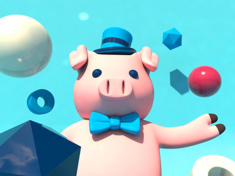 Pig character 3d shapes fun color design character cinema4d