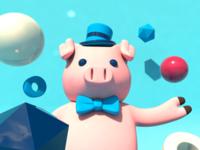 Pig character 3d
