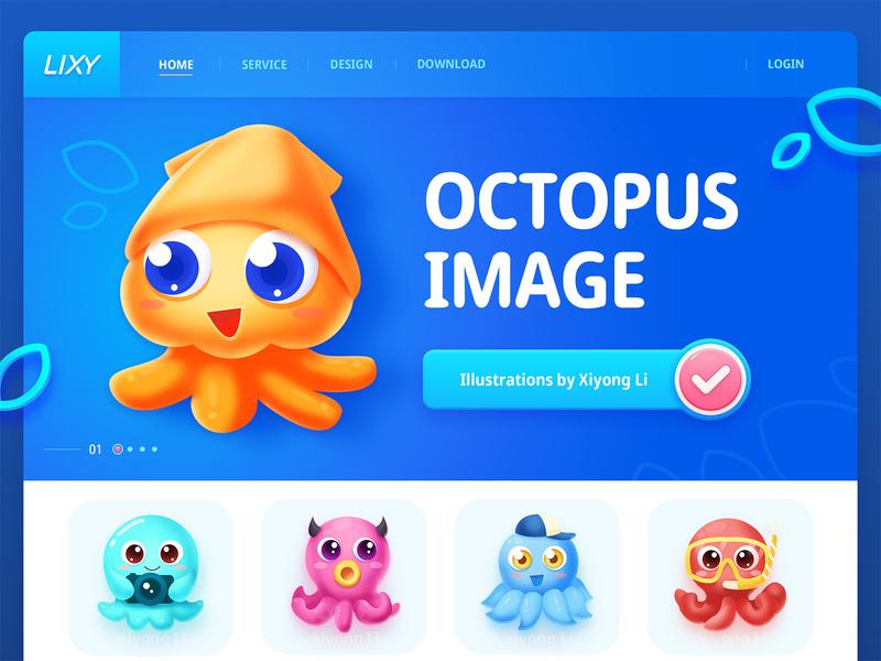 Octopus illustration design demon friends diving glasses boy education young child icon mascot red pink lovely orange web octopus blue ui illustration