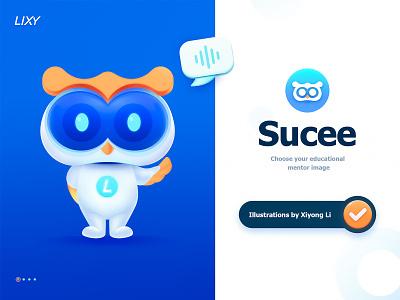 Product Mascot Design owl animal ux web ui illustration blue