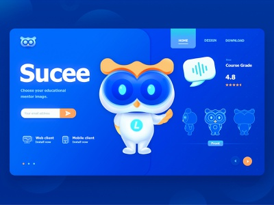 Product Mascot Design owl animal ux web ui illustration blue