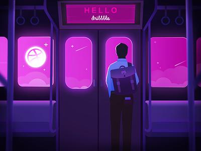 Hello Dribbble! boyfriend boy man pink invite dribbble train figure night subway hello dribbble hello design blue web illustration shot first