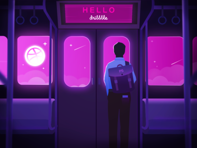 Hello Dribbble! boyfriend boy man pink invite dribbble train figure night subway hello dribbble hello design blue web illustration shot first