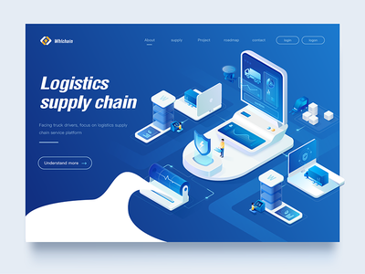 supply chain Web design 2 background home page landing page management smart modern icon supply ui logo ux 2.5d shot web illustration blue