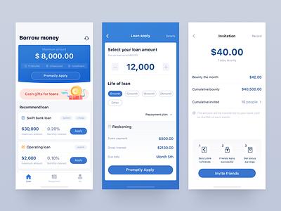 Loan app project 2 icon apply loan money financial illustration design ux ui blue