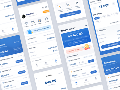 Loan app project xiyong li clean contracted flat interface design money repayment share card loan number figure financial logo icon design ux ui illustration blue