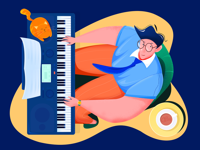 Concert performer -1 carpet smile glasses sitting sing keyboard music score night coffee boy cat look down piano blue ui web man music evening illustration