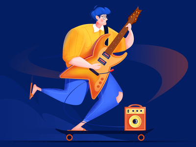 Concert performer -2 easily evening dynamic man music score music smile slippers guitar stereo skateboard night boy ux ui design illustration blue