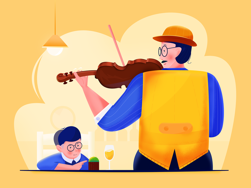 Concert performer -3 simple plants anime ux ui warm sweet son hat daddy man father music violin illustration illustrator dynamic design boy blue