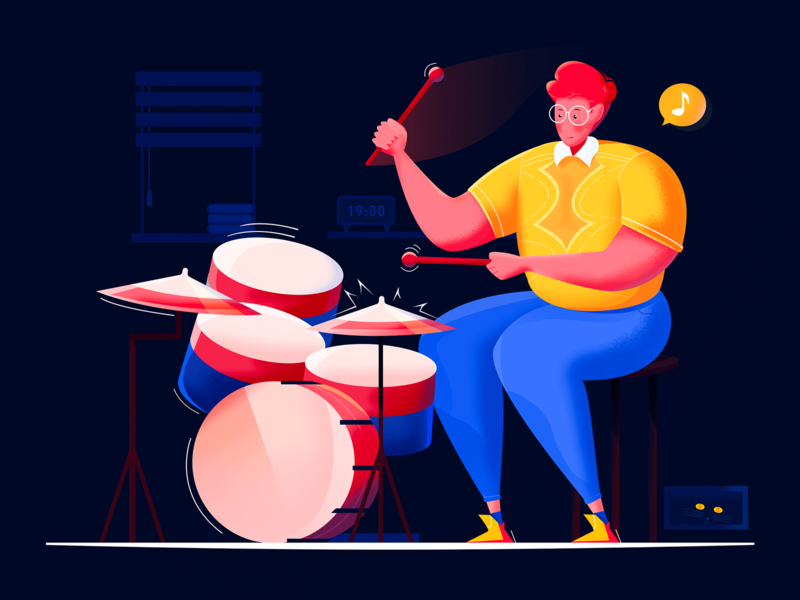 Concert performer -4 lixyong anime excited hit strive performance drum cat movement music drums rock easily night boy man web design illustration blue