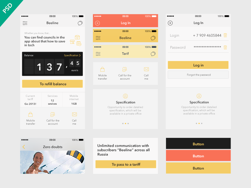 UI Kit Beeline app [Freebies]  flat ios7 app news free psd dribbble iphone apple ui