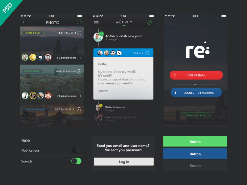 UI Kit Re-app [Freebies] ios soccer ui apple iphone psd free app ios7 freebie
