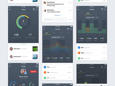 Fitness app [WIP] ios color ipad iphone graph ui ux