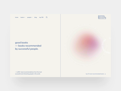 Good Books — home 📚 typewolf mier a beige soft gradient gradient landing page principle bookstore books web animation clean typography webflow brand identity clean ui web design simple minimalism minimal