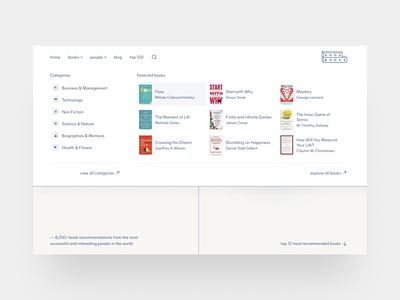 Good Books — meganav 📚 interaction nav bar list dropdown navigation navbar meganav nav beige clean figma landing page webflow clean ui web design simple minimalism minimal