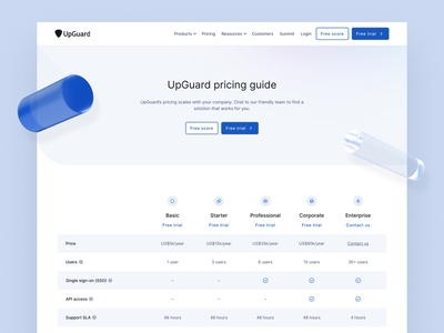 Pricing — UpGuard table 3d inter landing page webflow brand identity web design clean ui simple minimalism minimal pricing page pricing table pricing plan pricing
