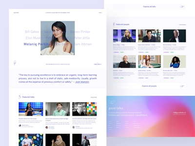 Preview — Good Talks apercu header grid footer gradients colourful colours gradient simplistic branding typography figma landing page webflow brand identity web design clean ui simple minimalism minimal